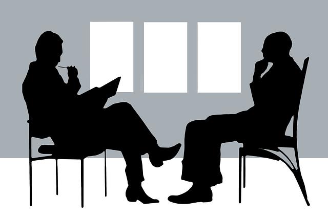 due figure stilizzate indicano le due persone nel colloqqui psicologico